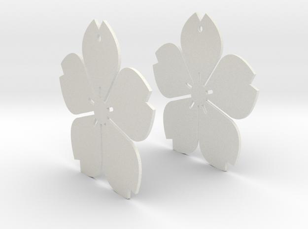 Flowerish 11 Big Earrings 50mm in White Natural Versatile Plastic