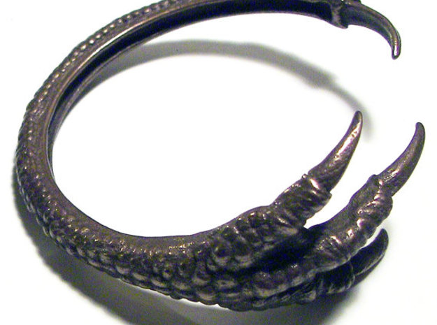 3D Printed Dragon Claw Bracelet in Polished Bronze Steel