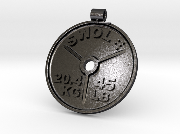 SWOLE Plate - Pendant in Polished Grey Steel