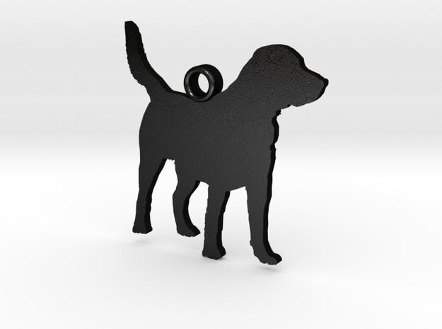 Labrador Retriever Standing Zipper Charm in Matte Black Steel