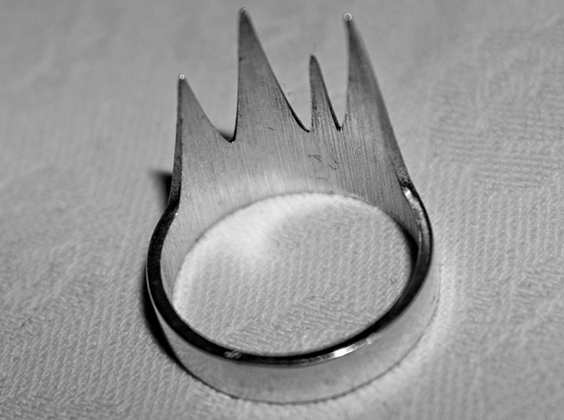 Thrombos Ring 3d printed 'Raw Silver' hand-polished