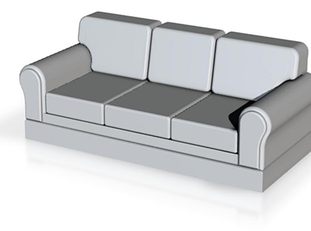 Miniature 1:48 Sofa in White Natural Versatile Plastic