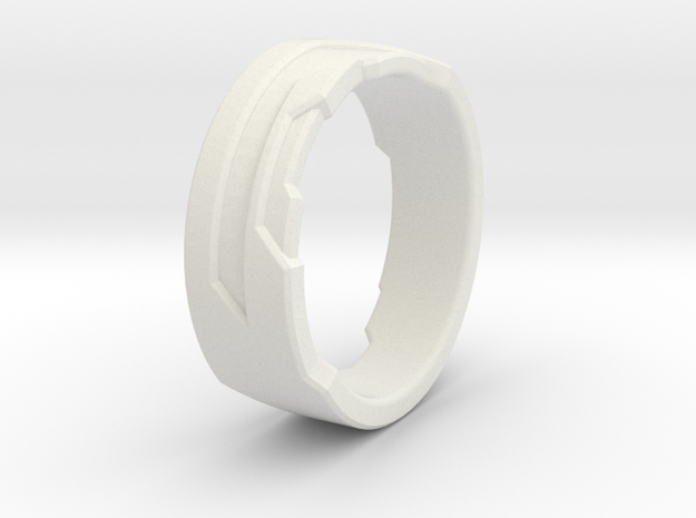 Ring Size H in White Natural Versatile Plastic