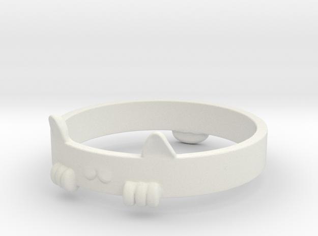 Kitty Cat  Ring in White Natural Versatile Plastic