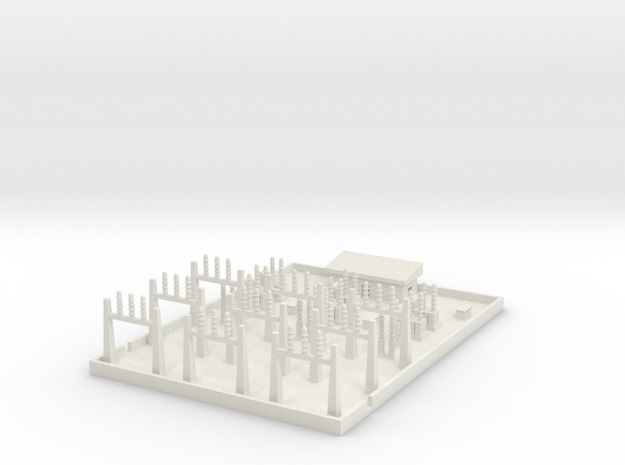 1/600 Large Power Substation in White Natural Versatile Plastic
