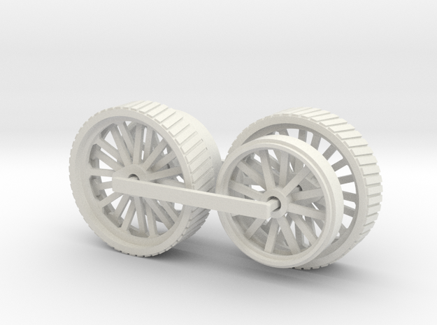1005-1 Fowler Plough Engine Wheels 1:43.5 O Scale in White Natural Versatile Plastic