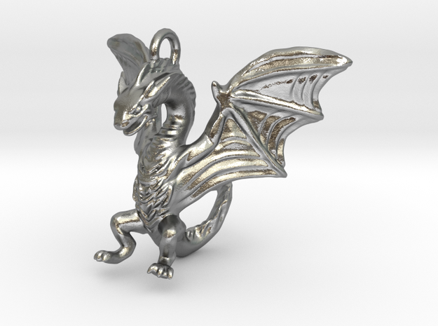 Dragon Pendant in Natural Silver