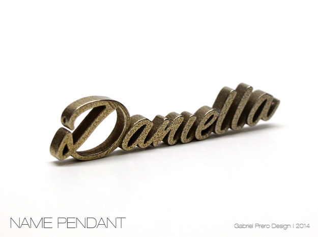 Daniella Name Pendant in Polished Bronzed Silver Steel