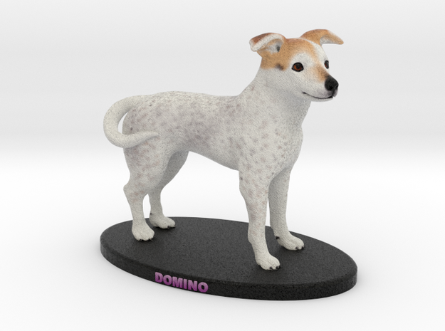 Custom Dog Figurine - Domino in Full Color Sandstone