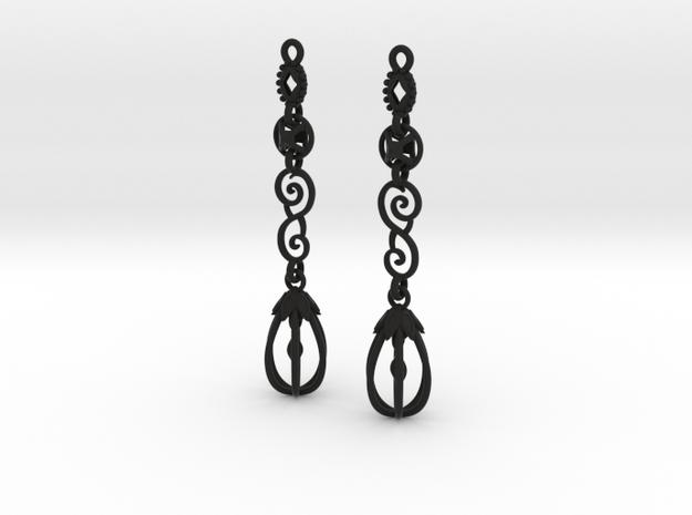 Eloquent Leaves Earrings - Modern Elegance Series in Black Natural Versatile Plastic