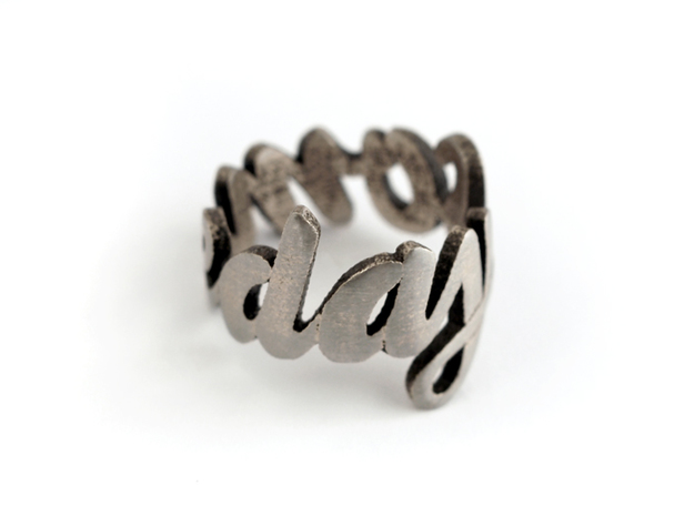 Someday Ring (various sizes) 3d printed Stainless Steel (polished)