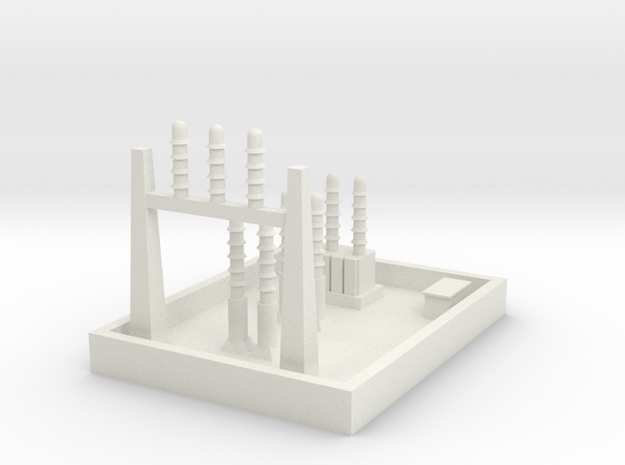 1/600 Small Power Substation in White Natural Versatile Plastic