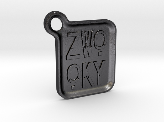 ZWOOKY Keyring LOGO 14 4cm 3mm rounded in Polished and Bronzed Black Steel