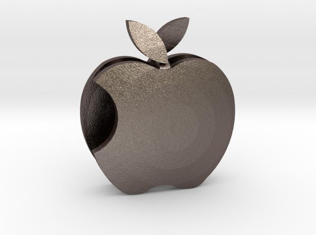 Apple pendant Love  in Polished Bronzed Silver Steel: Medium