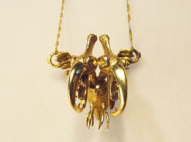 Siamese Pterodactyle - Bird Necklace  in Polished Brass