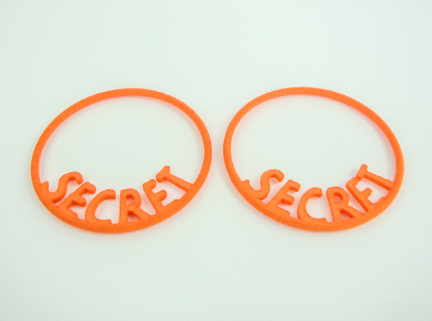 Custom Hoop Earrings - Secret 30mm in Orange Processed Versatile Plastic