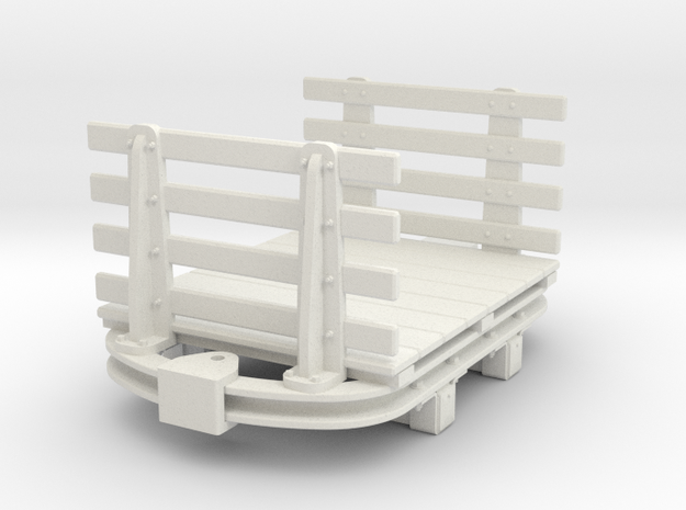 1:35 or Gn15 small skip based flat wagon slatted e in White Strong & Flexible
