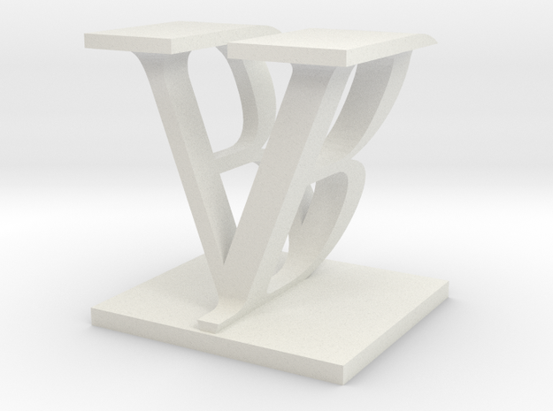 Two way letter / initial B&V in White Natural Versatile Plastic