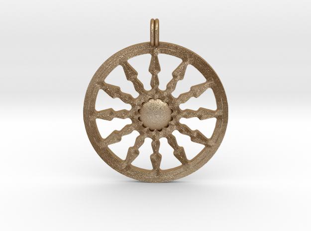 SUN Designer Symbolic Jewelry Pendant in Matte Gold Steel