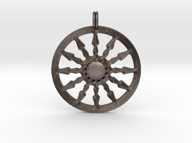 SUN Designer Symbolic Jewelry Pendant in Polished Bronzed Silver Steel