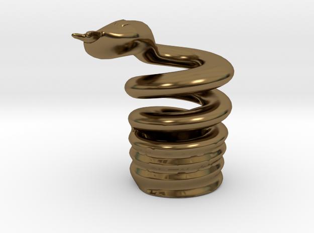 Snake Cigarette Stubber 3d printed Snake Cigarette Stubber in polished bronze