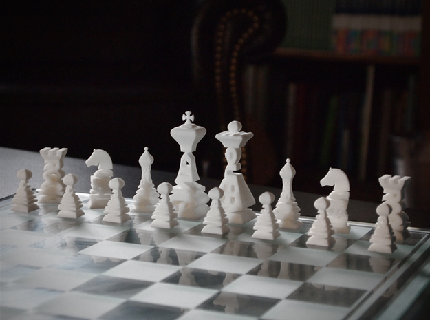 Typographical Chess Set 3d printed Photo of white set