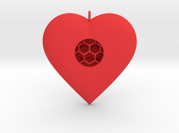 Diamond Heart Pendant in Red Processed Versatile Plastic