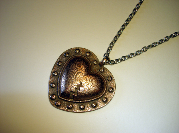 Steampunk Heart Pendant in Polished Bronzed Silver Steel