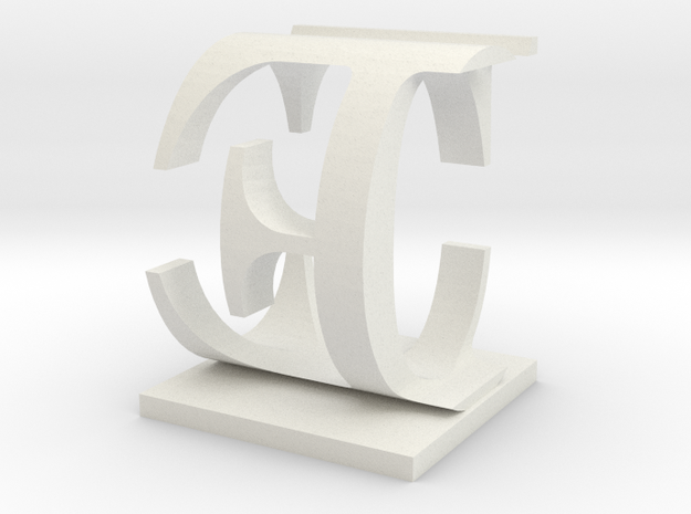 Two way letter / initial C&E in White Natural Versatile Plastic