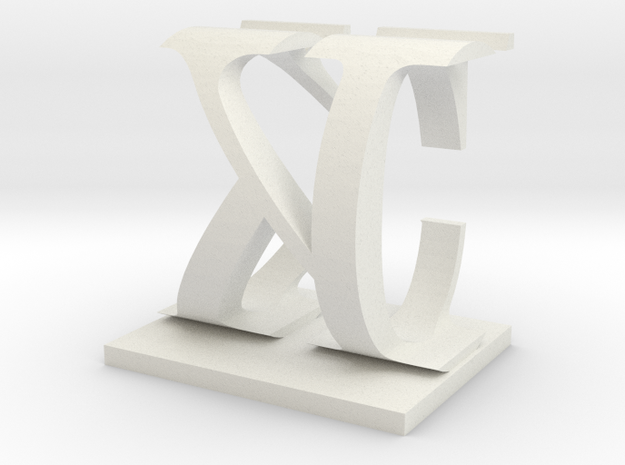 Two way letter / initial C&K in White Natural Versatile Plastic