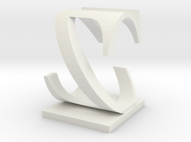 Two way letter / initial C&Z in White Natural Versatile Plastic