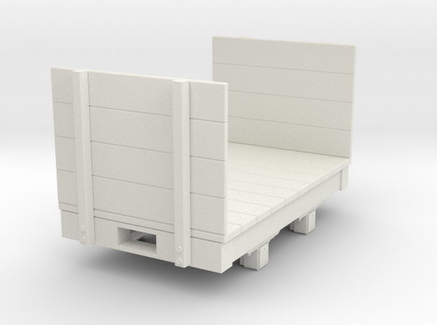 Gn15 small 5ft flat wagon with high ends  in White Natural Versatile Plastic