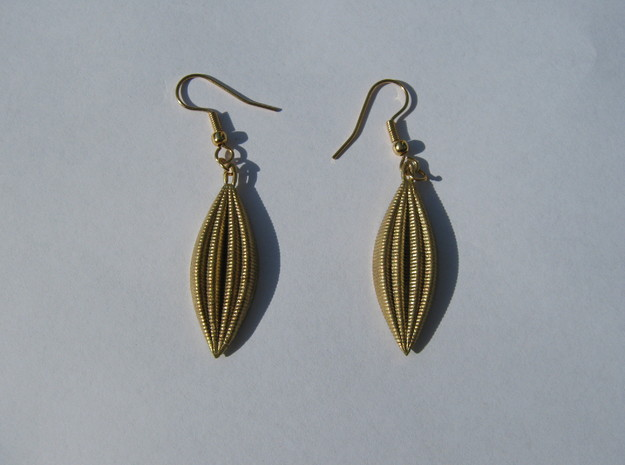 Four-Wave Earrings in Natural Brass