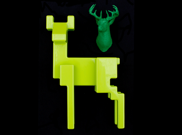 SPELGJORT | 8-Bit Stag's Head in Green Strong & Flexible Polished
