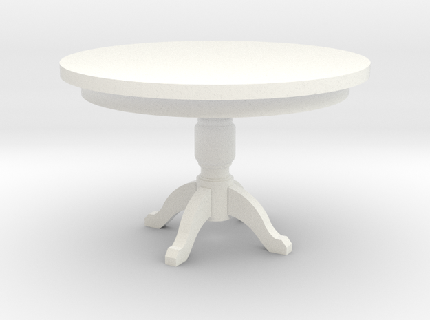 Miniature 1:48 Kitchen Table in White Processed Versatile Plastic