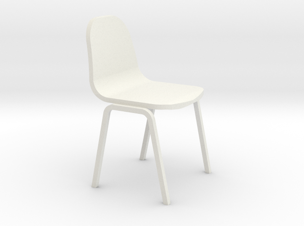 Miniature 1:24 Plastic School Chair in White Natural Versatile Plastic