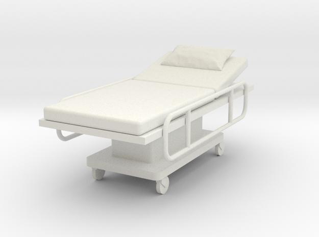 Miniature 1:24 Hospital Bed in White Natural Versatile Plastic: 1:24