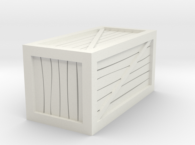 "1""x1""x2"" Crate Tabletop Miniature in White Natural Versatile Plastic"