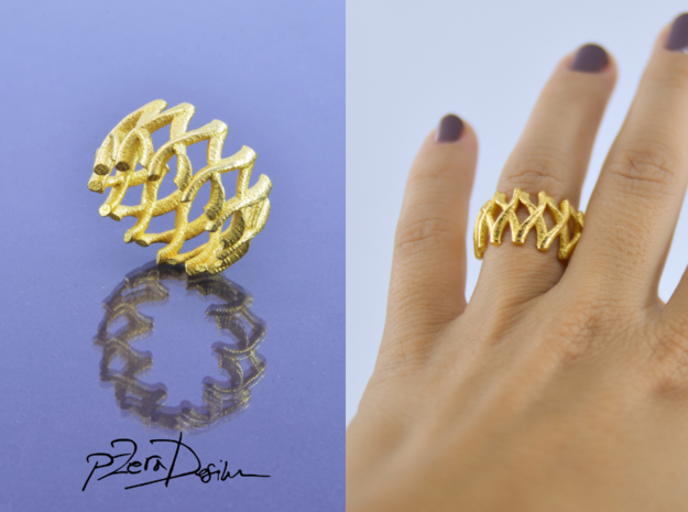 Simple Mesh Ring / Gold Mesh Ring in White Processed Versatile Plastic