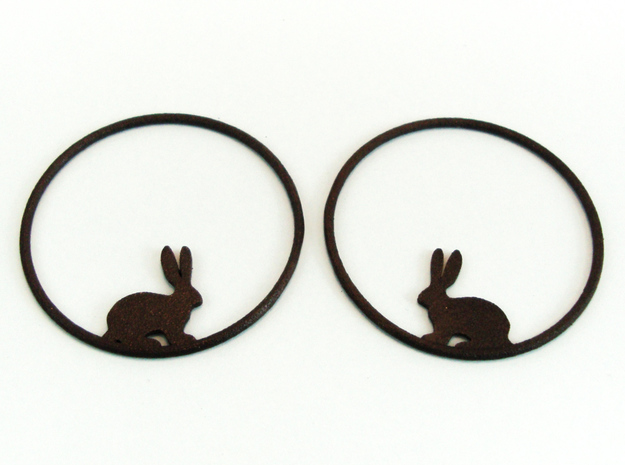 Bunny Hoop Earrings 40mm in Matte Black Steel