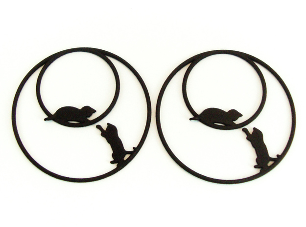 Playing Cats Hoop Earrings 50mm in Black Natural Versatile Plastic