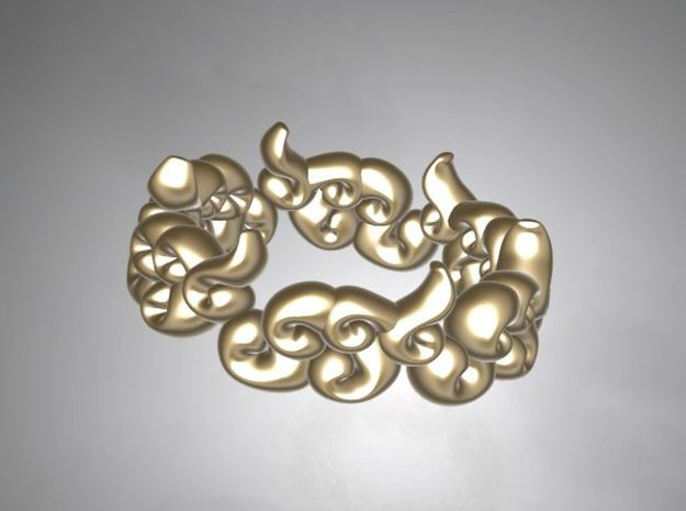 Six Clouds size:7.5-8 in Polished Gold Steel