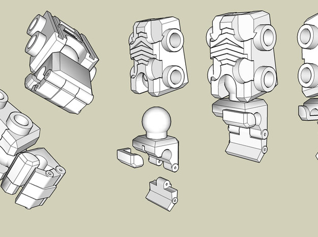 Kreon upgrade - Basic Kit 3d printed how the arm parts are assembled