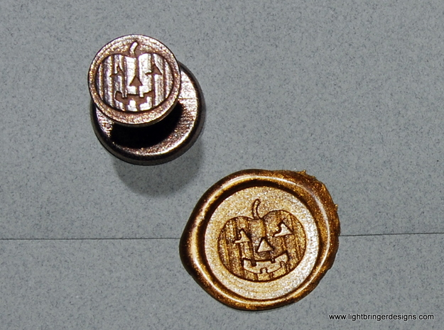 Jack-O'-Lantern Wax Seal 3d printed Jack-O-Lantern wax seal with impression in Gold wax