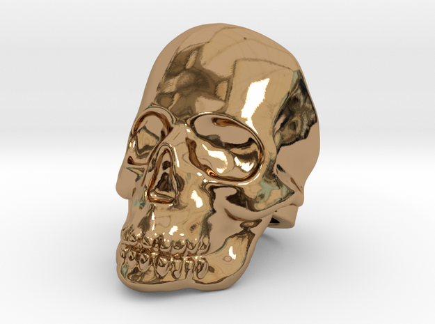 Skull Ring - Size US 10 in Polished Brass
