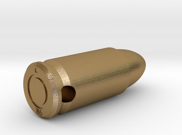 Smykke - 9mm. patron vedhæng in Polished Gold Steel