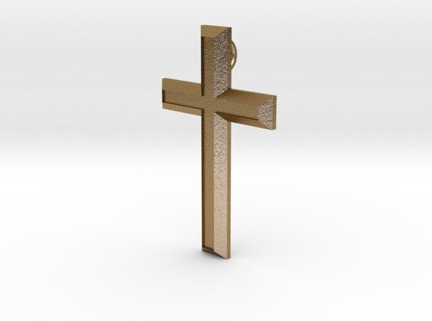 Smykke - Latinsk/Kristent kors in Polished Gold Steel