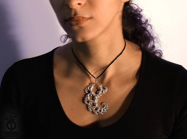 6cm Fractal lace, intricate spirals pendant  3d printed