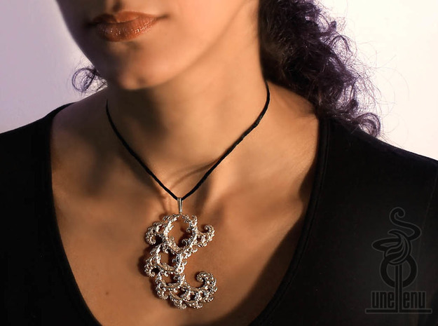 6cm Fractal lace, intricate spirals pendant  in Polished Silver
