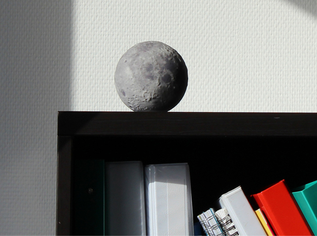 Moon with surface detail 3d printed On the shelf
